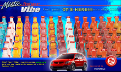 """<p style=""""text-align: center;""""><span class=""""serif_16"""">Snapple Mistic's <strong>Find Your Vibe!</strong>&nbsp;national under-the-cap-sweepstakes promotion that rewarded one very lucky winner with a brand new car.</span></p>"""