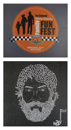 """<p>These are two projects I completed for a design class. The top was a logo contest for the First Family Fun Fest. This is an event in my town and they were looking for a logo to use. Our whole class participated and they ended up picking mine to use. I was able to see the logo I made on their t-shirts, posters, flyers, and many other products. The bottom was a project called """"type face"""" we picked a famous person and used words to make their face. I chose Ray Lamontange, and I used his words to a song called """"hold you in my arms""""</p>"""