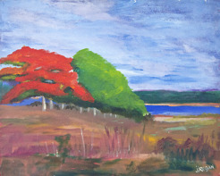 """Landscape with Two Trees (16""""x20"""")"""