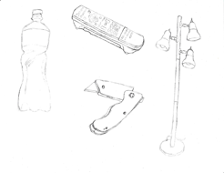 <p>Quick drawing of objects scanned into Photoshop.</p>