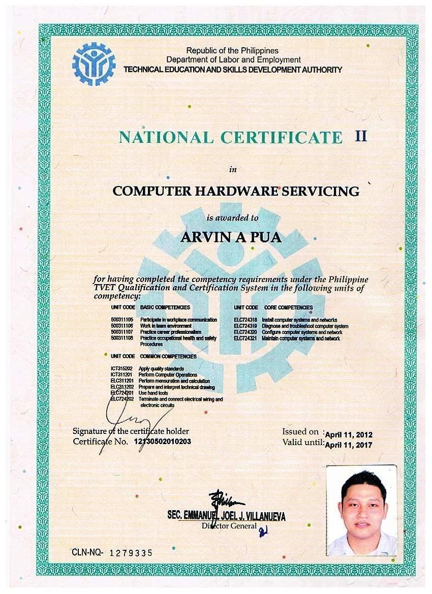 National Certificate Arvin Pua Graphic Designer Video Editor