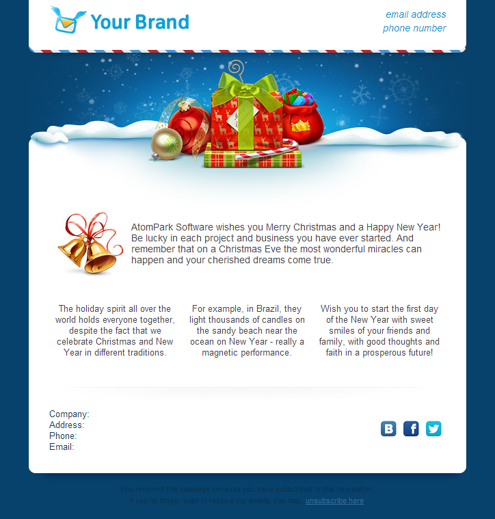 Christmas Email Templates Atompark Software Portfolio